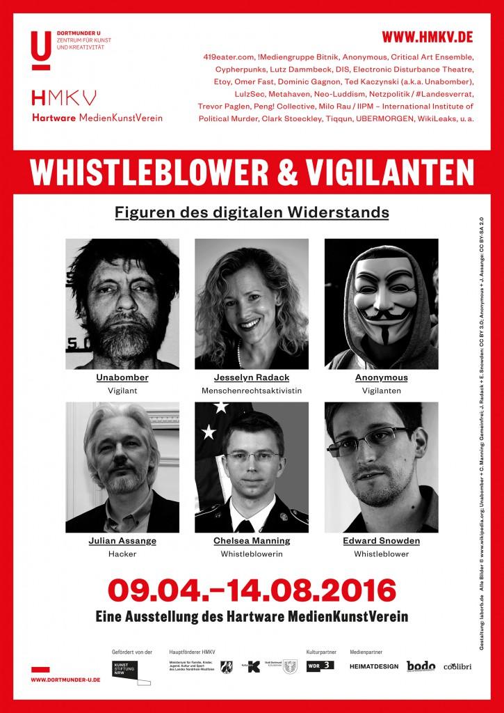 """Plakat der Ausstellung """"Whistleblower & Vigilanten. Figuren des digitalen Widerstands"""" im HMKV im Dortmunder U"""