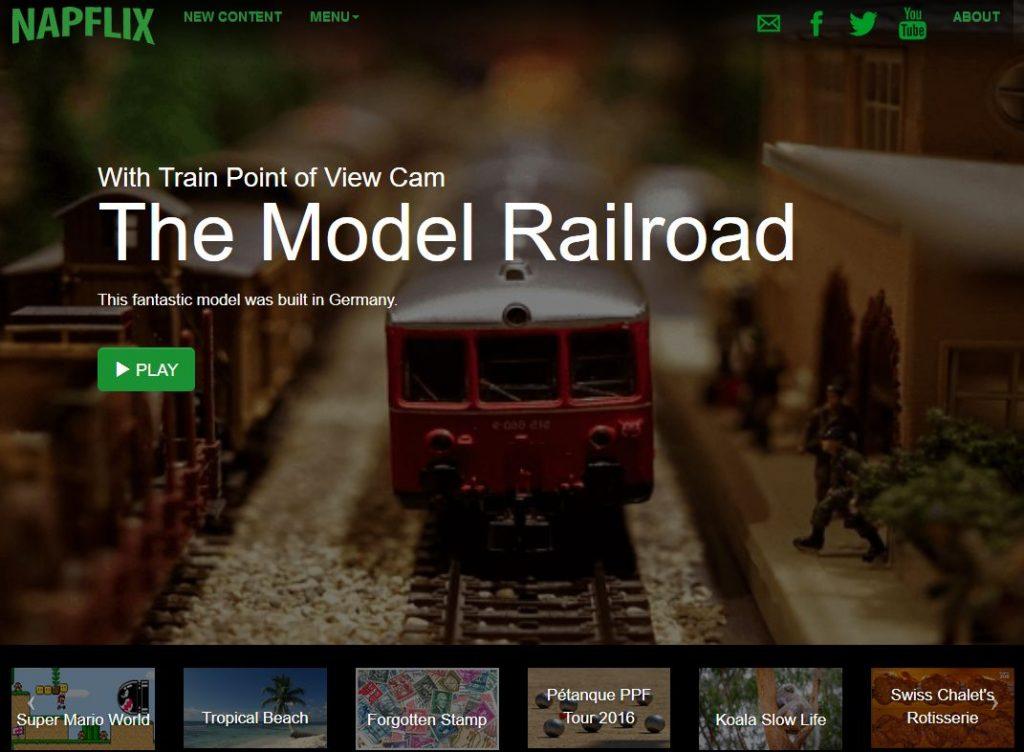 Garant für Langeweile: Modelleisenbahnfahrten auf Napflix / Foto: Screenshot